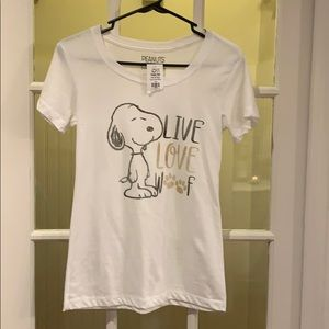 Snoopy white scoop neck T-shirt